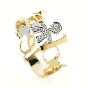 Anello leBeb̬ in oro bianco e giallo collezione Ghirlande