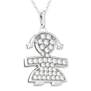 Ciondolo Le Beb̬ femminuccia con diamanti LBB012