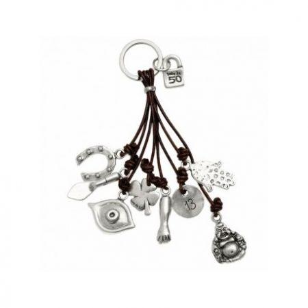 Portachiavi UNOde50 placcato argento Amulet LLA0124MTX