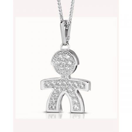 Ciondolo Le Bebè Pavè Maschietto in Oro bianco e Diamanti LBB025