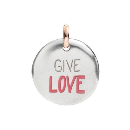 Queriot Moneta Oro Rosa e Argento 925 Give love