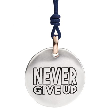 Queriot Moneta Oro 9kt e Argento 925 Never Give Up