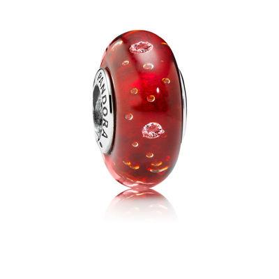Pandora Bolle Frizzanti Rosse Charm Originale Murano 791631CZ