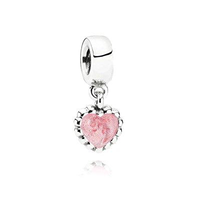Pandora Charm con Pendente Cuore Rosa Originale Argento 790471EN28