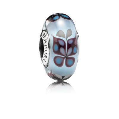 Pandora Farfalle Azzurre Charm Originale Vetro di Murano 791622