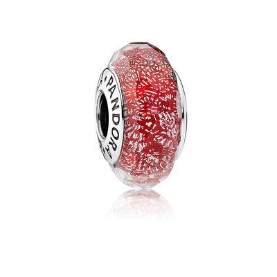 Pandora Rosso Scintillante Charm Originale Vetro di Murano 791654