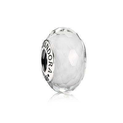 Pandora Sfaccettato Bianco Charm Originale Murano 791070