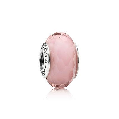 Pandora Sfaccettato Rosa Charm Originale Vetro di Murano 791068