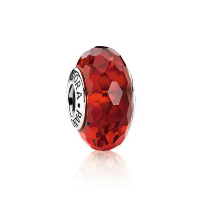 Pandora Sfaccettato Rosso Charm Originale Vetro di Murano 791066