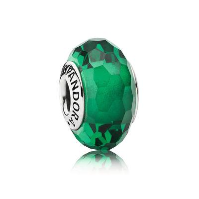 Pandora Sfaccettato Verde Charm Originale Vetro di Murano 791619