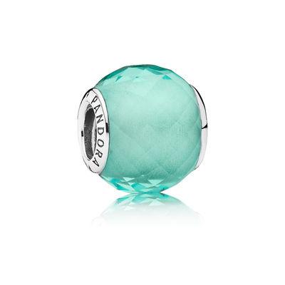 Pandora Sfera Sfaccettata Verde Charm Originale Murano 791499SGQ