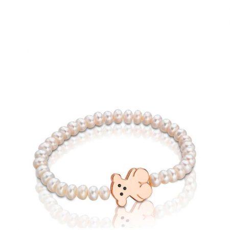 Braccialetto Tous Perline Orsetto Placcato Oro Rosa 415901720