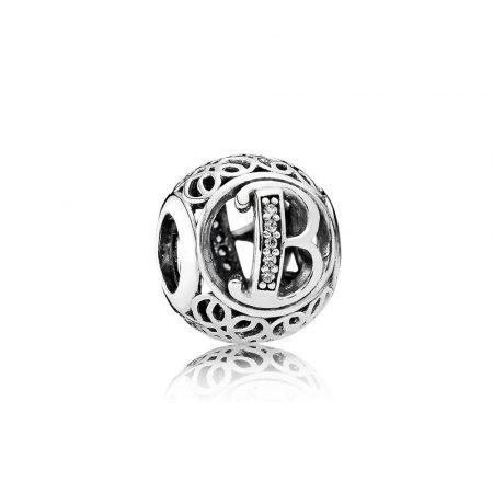 Pandora Charm B Vintage Originale Argento Zirconi 791846CZ
