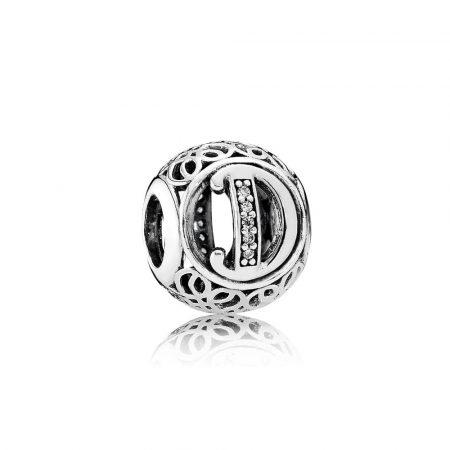 Pandora Charm D Vintage Originale Argento Zirconi 791848CZ