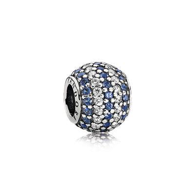 Pandora Charm Sfera in Pavè Righe Blu Charm Originale 791172NCB