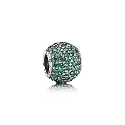 Pandora Charm Sfera in Pavè Verde Charm Originale Argento 791051CZN