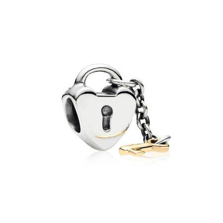 Pandora Chiave del Cuore Charm Originale Oro 14k Argento 790288