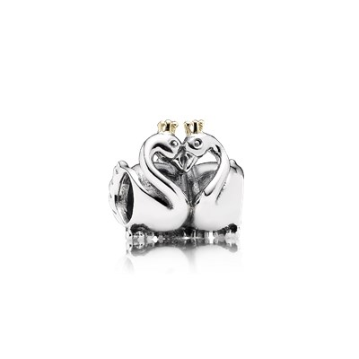 Pandora Cigni Innamorati Charm Originale Oro 14k Argento 791189