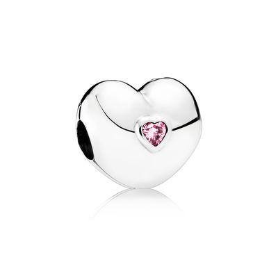 Pandora Clip Cuore Rosa Charm Originale Argento 791981PCZ