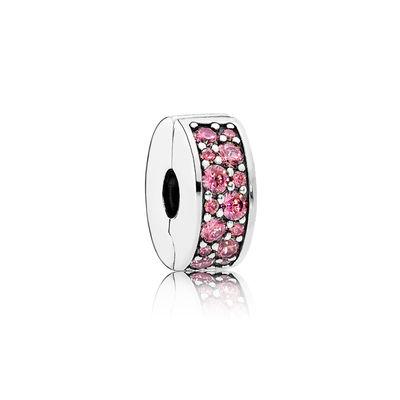 Pandora Clip Eleganza Luccicante Rosa Charm Originale 791817HCZ