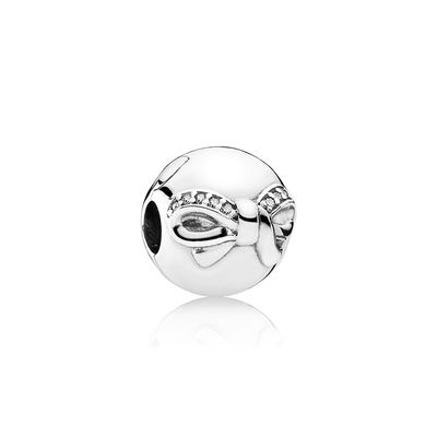 Pandora Clip Fiocco Delicato Nera Charm Originale Argento 791777CZ