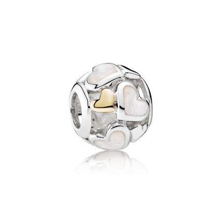 Pandora Cuori Luminosi Charm Originale Oro 14k Argento 791879MOP