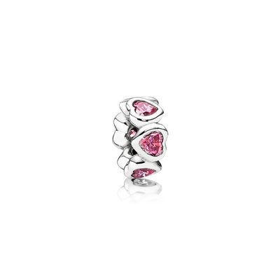 Pandora Distanziatore Cuori Brillanti Rosa Originale Argento 791252CZS
