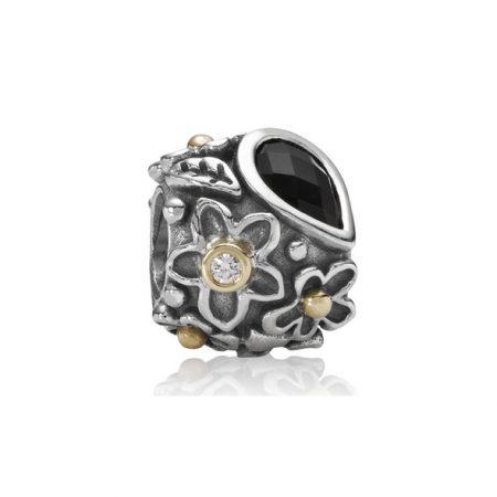 Pandora Fiori e Foglie Charm Originale Oro 14k Argento 790540O