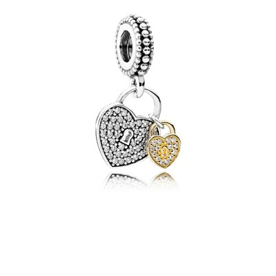 Pandora Lucchetti d' Amore Charm Originale Oro 14k Argento 791807CZ