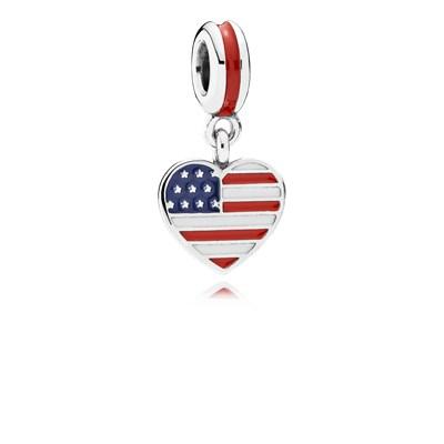 Pandora Pendente Bandiera USA Charm Originale Argento 791548ENMX