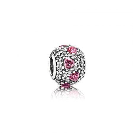 Pandora Charm Batticuore Cuori Rosa Originale Argento 791249CZS