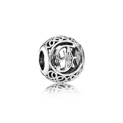 Pandora Charm F Vintage Originale Argento Sterling 791850CZ