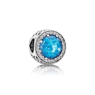 Pandora Charm Gioiello Scintillante Azzurro Glaciale Originale 791725CZ