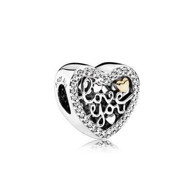 Pandora Charm Messaggio Amore Originale Argento Oro 792037CZ