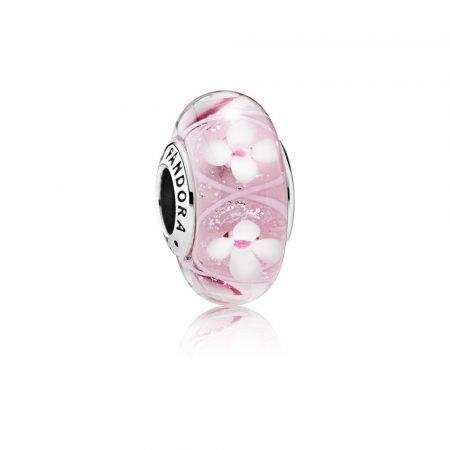 Pandora Charm Prato Fiorito Rosa Originale Vetro Murano 791665