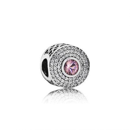 Pandora Charm Punto Luce Rosa Antico Originale Argento 791763NBP