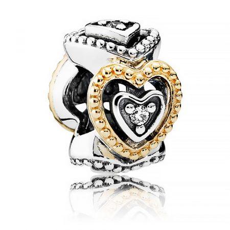 Pandora Celebrazione d' Amore Charm Originale Oro 14k Argento 791975CZ
