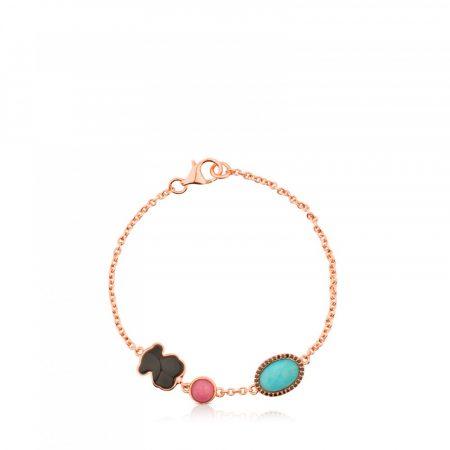 Bracciale Tous con motivo Vermeil rosa con gemme cod614931500