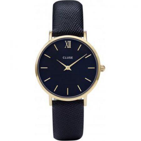 CLUSE Minuit Orologio Cassa Oro Cinturino Pelle Midnight Blue CL30014