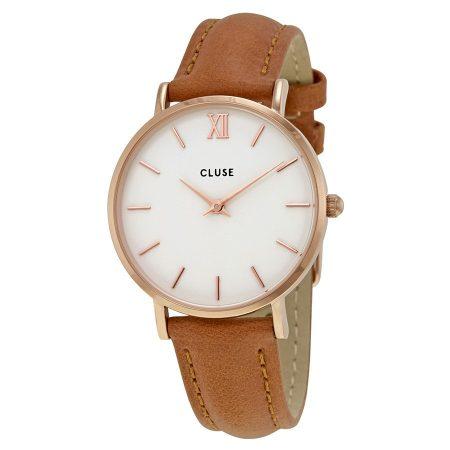 Cluse Minuit Cassa Rosè Quadrante Bianco Cinturino Marrone CL30021