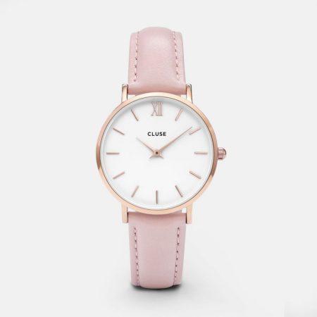 Cluse Minuit Orologio Cassa Oro Rosa Cinturino Pelle Rosa CL30001