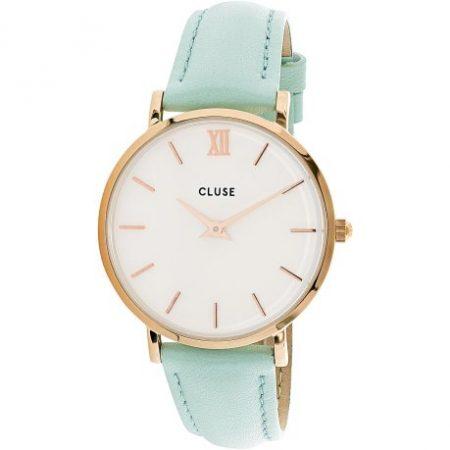 Cluse Minuit Cassa Oro Rosa Quadrante Bianco Cinturino Azzurro cl30017