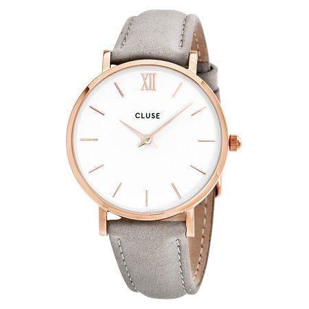 Cluse Minuit Orologio Cassa Oro Rosa Cinturino Grigio CL30002