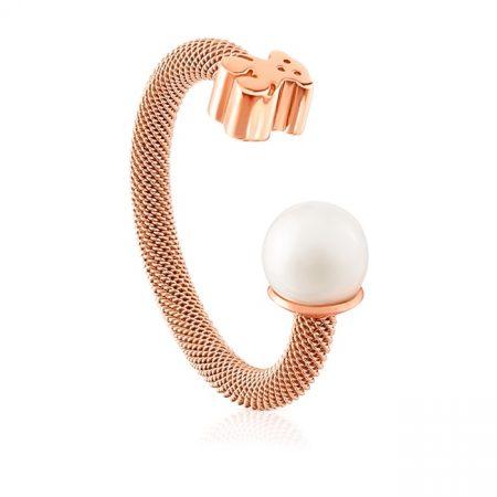 Anello Tous in maglia di acciaio e rosa vermeil con perla 613105520
