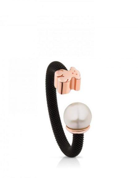 Anello Tous in maglia di acciaio e rosa vermeil con perla 613105510