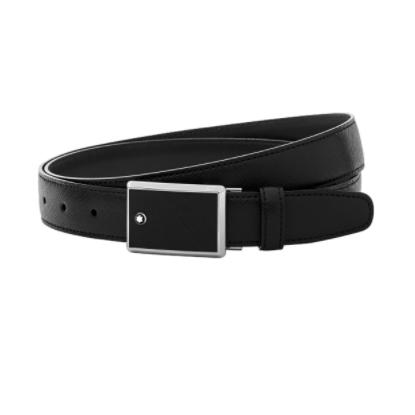 Cintura Montblanc Elegante Cut-to-Size Pelle Nera Acciaio 114421